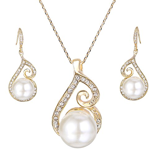 Pearl Swirl Pendant - EleQueen Women's Simulated Pearl Crystal Swirl Floral Bridal Pendant Necklace Hook Earrings Jewelry Set Clear Gold-Tone