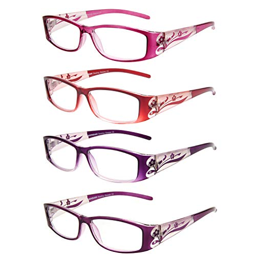LianSan Readers 4 Pairs Ladies' Readers Color Frame Quality Reading Glasses for Women L3711(+3.25)