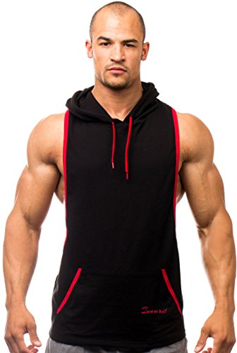 Iwearit Hoody(Blk/Red-XL) - Cotton(95%) Lycra(5%) Stringer Tank Top Savage Hoodie With Accent Trim Blk Hoodie