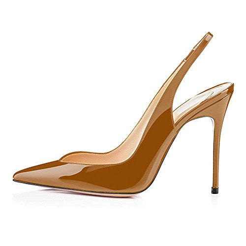 uBeauty Women's High Heel Pointy Toe Court Shoes Slingback Slip On Sandals Ankle Strap Stiletto Basic Shoes Brown