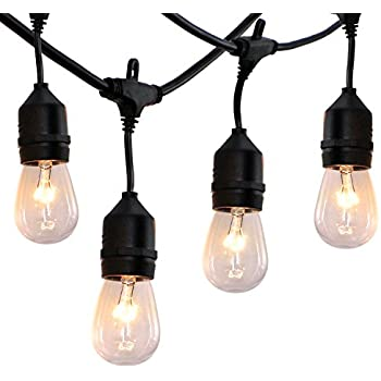 52 ft Outdoor String Lights Commercial Grade Weatherproof - UL Listed Heavy Duty - 24 Hanging Sockets - Perfect Patio Lights Bistro Market Cafe Lights - 28pack 11W Incandescent Bulbs Included