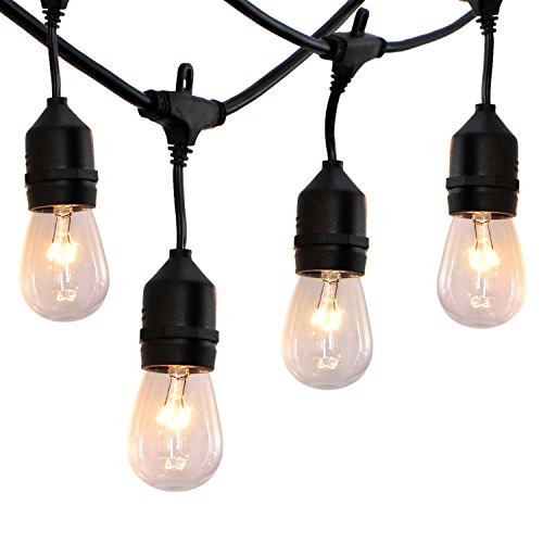 52 ft Outdoor String Lights Commercial Grade Weatherproof - UL Listed Heavy Duty - 24 Hanging Sockets - Perfect Patio Lights Bistro Market Cafe Lights - 28pack 11W Incandescent Bulbs Included by FrenchMay