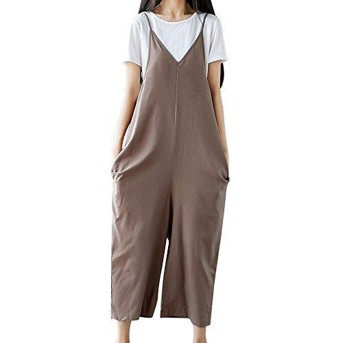 Xturfuo Women's Plus Size Overalls Cotton Jumpsuits Wide Leg Harem Pants Casual Rompers