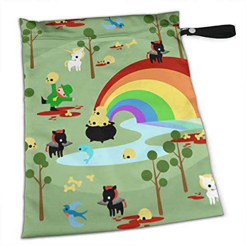 St Patricks Day Leprechaun Scary Unicorn Creepy Premium Wet Bag Baby Wet Dry Cloth Diaper Nappy Stroller Bags Waterproof Reusable Wet Bags for Swimsuit Wet Clothes Baby Items with Zipper]()