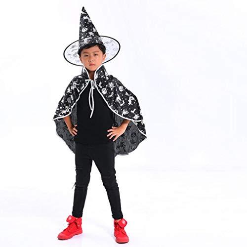 Pumsun Halloween Kids Costume Adult Children Baby Wizard Witch Cloak Cape Robe+Hat Set (White) -