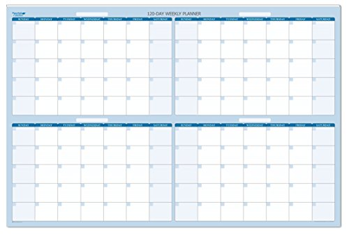 Sky Blue 120-Day 4-Month Horizontal Dry/Wet-Erasable Wall Planner 36 n. Wide X 24 in. Tall. Non-Ghosting -