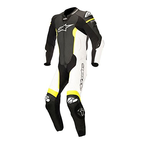 Alpinestars Missile One Piece Leather Mens Motorcycle Suits - Black/White/Yellow - 52 by Alpinestars