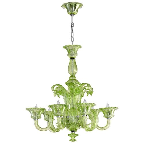 Cyan Designs 05035 Chandelier with Verde Glass Shades, Green Finish