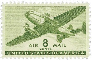 Airmail Plate Block (#C26 - 1944 8c Rotary Press Air Mail Postage Stamps Plate Block)