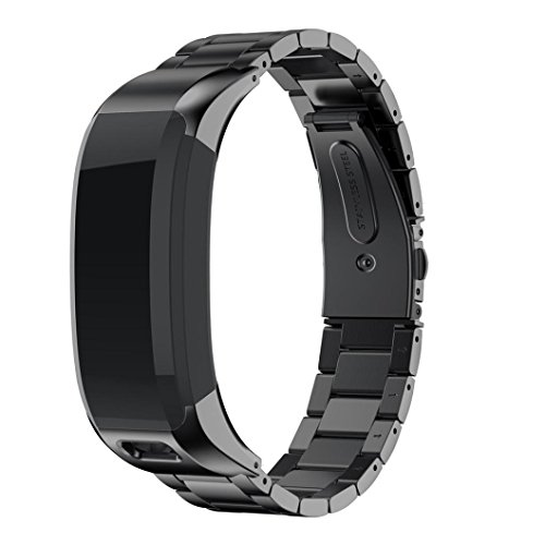 (BabiQ for Garmin VIVOsmart HR Classic Solid Stainless Steel Accessory Watch Band Strap Metal Bands Replacement (Black))