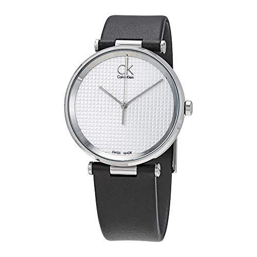 Ck Calvin Klein Gents Watch K1s21120 Black Leather White Dial