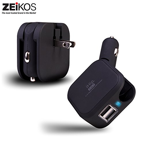 Zeikos Compatible with iPhone X/8/8Plus/7/6/6Plus/5s, iPad, Samsung Devices, HTC Kindle iHip USB Wall Car Charger Combo 10W 2.1A 2-in-1 Dual Port Car Travel Charger, Wall Adapter Foldable Plug - Black