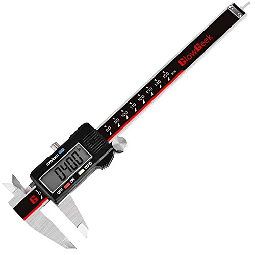GlowGeek Electronic Digital Caliper Inch/Metric Conversion 0-6 Inch/150 mm Stainless Steel Body Red/Black Extra Large LCD Screen Auto Off Featured Measuring Tool