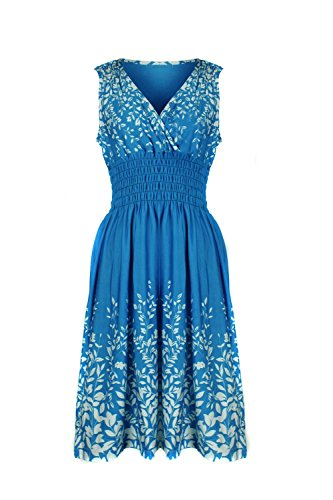 G2 Chic Women's Spring Summer Casual Printed Patterned Stretch Midi Dress(DRS-CAS,LBLA5-M) (Urban Chic Dress)