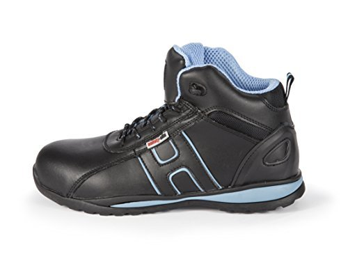 safety-site UK 6 EN Tested SRA Rated A3 Steel Toe Suede Leather Unisex Work Safety Trainer Boots - Black/Blue by Safety-Site