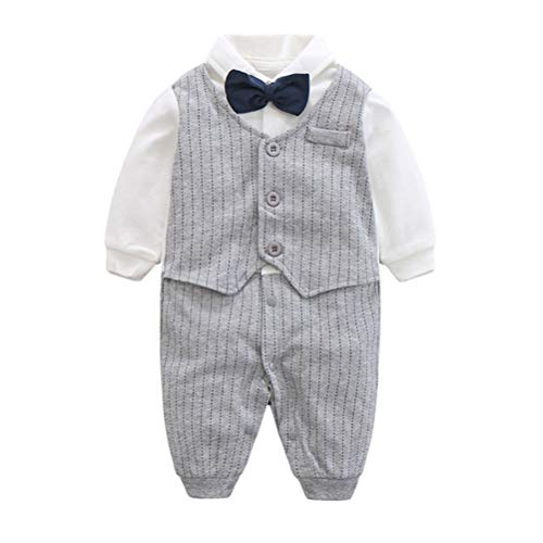 Fairy Baby Baby Boy Gentleman Outfit Formal Romper Infant Tuxedo Dress Suits,3-6M,Grey Stripe (Navy Blue Knee High Socks With Bows)