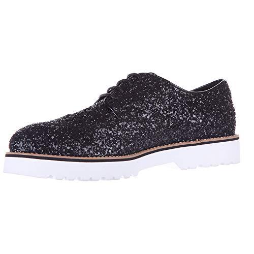de Hogan en Mujer Negro Zapatos Clásico Glitter Piel Cordones Derby 44xASUEwq