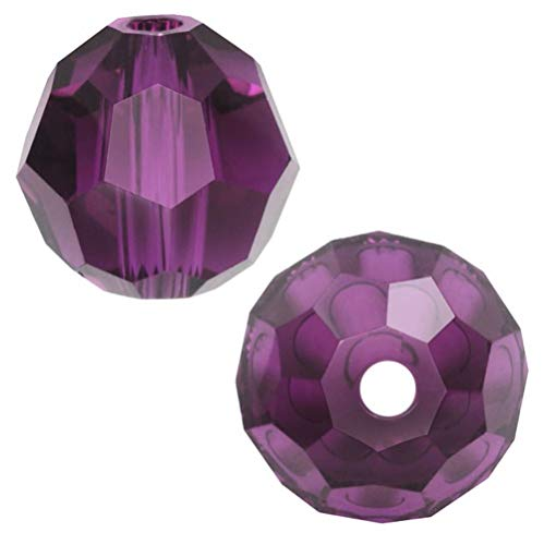 50pcs 8mm Adabele Austrian Round Crystal Beads Amethyst Compatible with 5000 Swarovski Crystals Preciosa SS2R-811