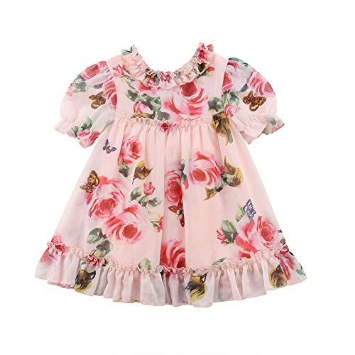 (KMBANGI Toddler Baby Girls Flower Print Ruffles Princess Dress Sundress Clothes Outfit (2-3 T,)