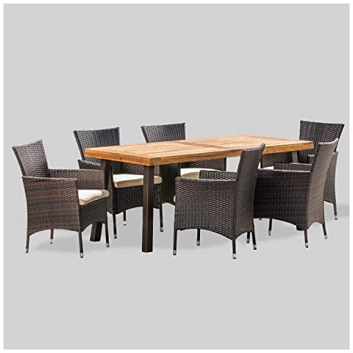 Garden and Outdoor Christopher Knight Home Randy | Outdoor 7-Piece Acacia Wood and Wicker Dining Set with Cushions | Teak Finish | in… patio dining sets