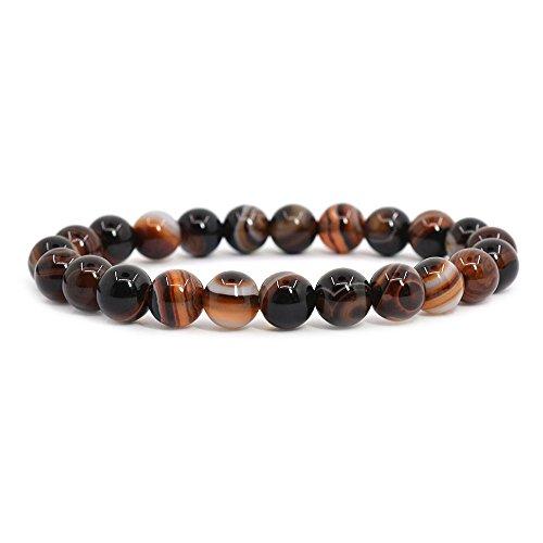 Brown Dream Agate Gemstone 8mm Round Beads Stretch Bracelet 7