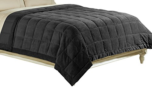 Aeolus Down Luxlen Microfiber Blanket, Reversible: Soft Plush to Satin Cool, Staintech Treated, Full/Queen, Black