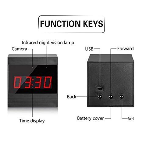 flexymove - Despertador Camera HD espía WiFi 1280 x 720P con detección de movimiento en visión nocturna: Amazon.es: Electrónica