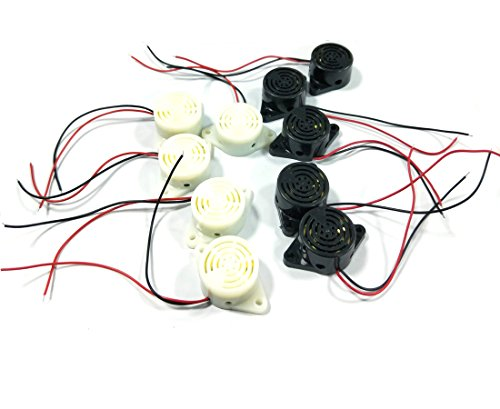 Antrader 10-Pack DC 3-24V 85dB Active Piezo Electronic Buzzer Alarm, 5Pcs Black and 5Pcs White ()