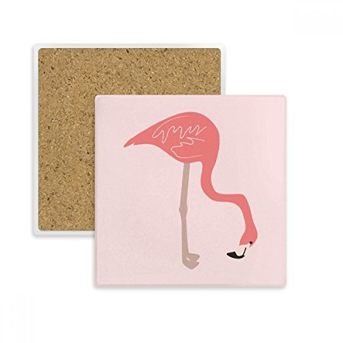 (Waiting Flamingo Pattern Square Coaster Cup Mug Holder Absorbent Stone for Drinks 2pcs Gift)