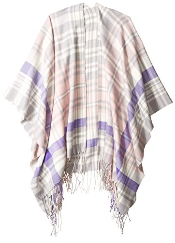 Orchid Row Women's Oxford Plaid Wool Effect Blanket Wrap Ruana Blush O/S (Orchard Plaid)