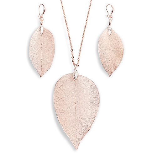 BOUTIQUELOVIN Rose Gold Real Leaf Jewelry, Super Light Weight Boho Chic Jewelry(Rose Gold Necklace & Earring Set)