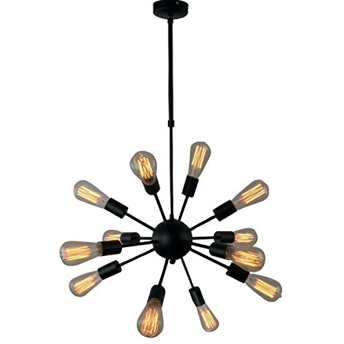 UNITARY BRAND Black Vintage Antique Metal Hanging Ceiling Chandelier With 12 Lights Painted Finish ()