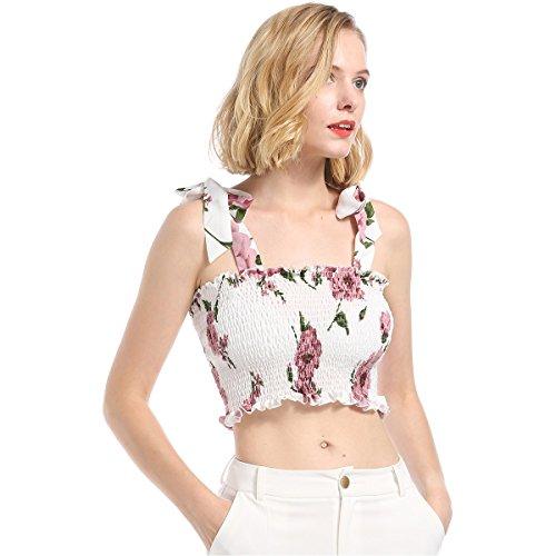 Women's Sexy Shoulder Tie Strap Ruffle Trim Floral Print Shirred Smock Crop Tank Top (Ruffle Trim Tie Top)