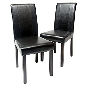 picture of Roundhill Furniture Urban Style Solid Wood Leatherette Padded Parson Chair, Black, Set of 2