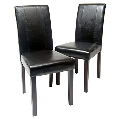 Roundhill Furniture Urban Style Solid Wood Leatherette Padded Parson Chair, Black, Set of 2 (Chair Leather Chair Parsons)