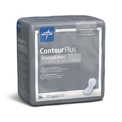 (Medline Contour Plus Bladder Control Incontinence Pads, Maximum Absorbency, 6.5