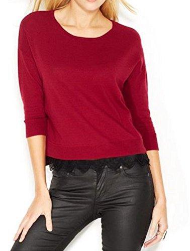 Made For Impulse Wine Lace Trim Women's Medium Sweater Top Red M