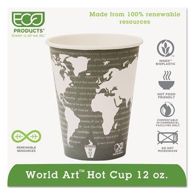 World Art Renewable Resource Compostable Hot Cups, 12oz, Green, 1000/Carton