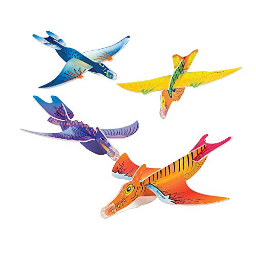 Rhode island Novelty Dinosaur Gliders Set (48 Pack), 7 1/2