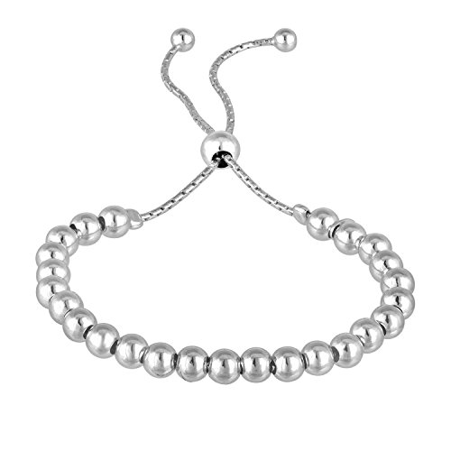 EZ Creations Italian 6.0mm Silver Bead Bolo Drawstring Adjustable Bracelet Easy On and Off (White)