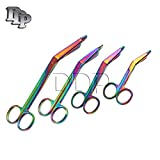 SET OF 4 MULTI COLOR RAINBOW LISTER BANDAGE SCISSORS 3.5'' 4.5'' 5.5'' 7.25'' STAINLESS STEEL (DDP BRAND)
