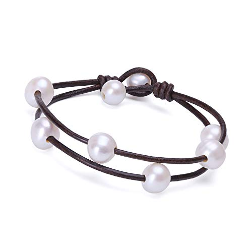 Cultured Freshwater Pearl Bracelet White Beads on Brown Genuine Leather Cord Strand Handmade Adjustable Cuff Jewelry for Women Fashion Charm Bracelet for Valentine's Day