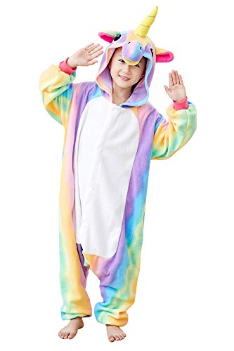 EcoOnesie Kids Animal Onesie Star Unicorn Cosplay Pajamas One Piece Costumes (4, Rainbow Unicorn Kid) ()