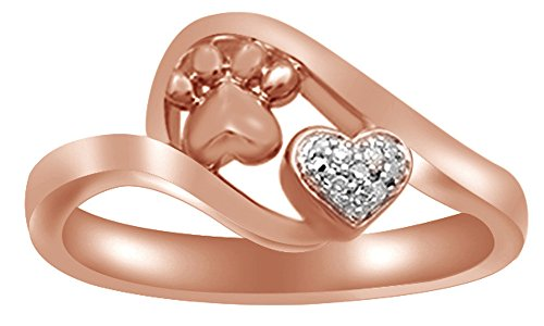 White Natural Diamond Accent Paw Print Heart Ring in 14k Rose Gold Over Sterling Silver