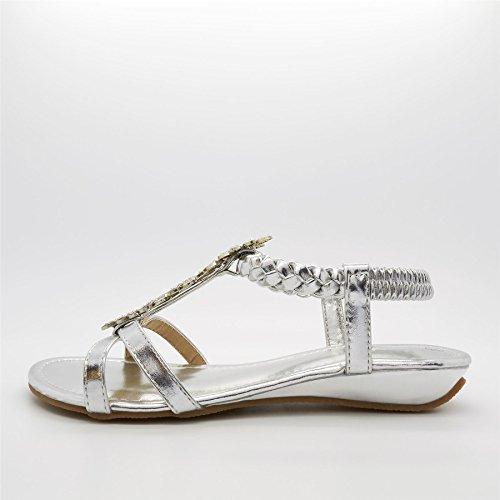 London Footwear - Zapatos con tacón mujer Plateado - plata
