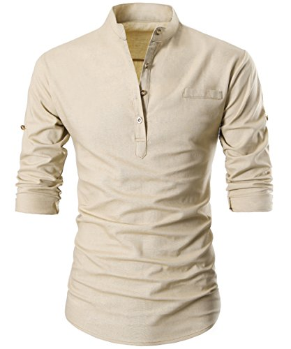 GARSEBO Beloved Men Button Slim Henley Neck Long Sleeve Casual...