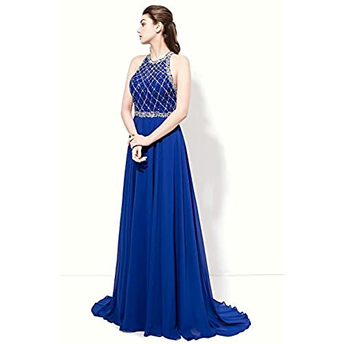 SeasonMall Womens Prom Dresses A Line Halter Open Back Chiffon & Tulle Dresses Size 6 US Dark Royal Blue