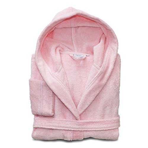 Linum Kids Luxury Children's Hooded Bathrobe 100% Premium Turkish Terry Cotton Robe,Medium, Pretty Pink