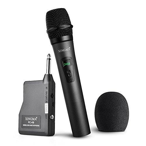 Yooson Wireless Microphone System, Rechargeable Dynamic Cordless Vocal Microphone with 6.35mm Plug Receiver for Karaoke, Party, Wedding, Churching, Stage Performance, Presentation and More.Metal Black