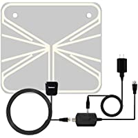 TV Antenna, Sumasun Indoor HDTV Antenna for Digital TV 50 Miles with Detachable Amplifier Signal Booster, USB Power Supply and 16.5FT Coaxial Cable, Ultra Thin and Light(Transparent)